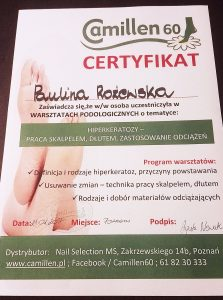 Certyfikat - podolog Saphona Poznań